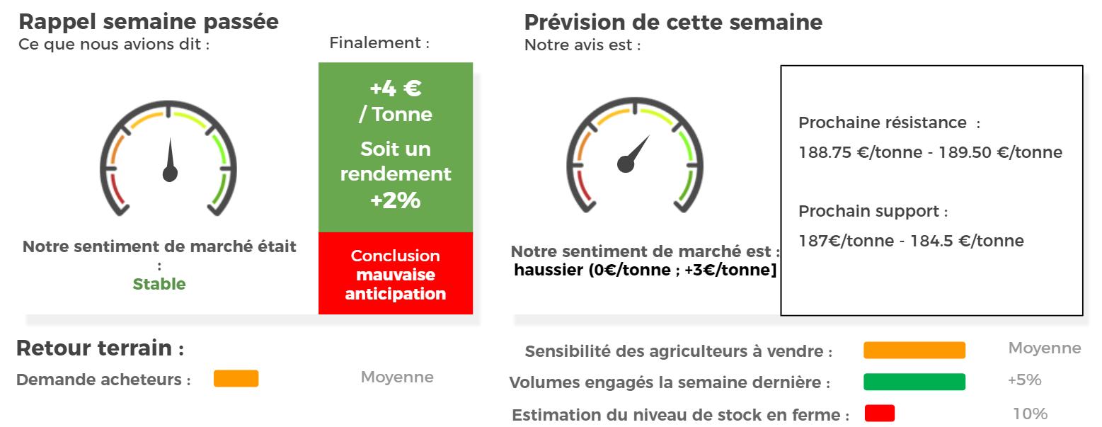 prévision cours et marché blé tendre